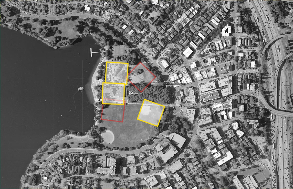 A map showing where five possible designs would be located within the current site.