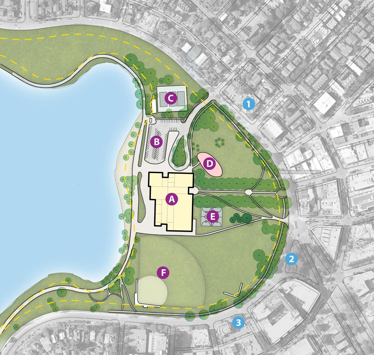 A map showing the Park Pavilion site at the northwest side of Green Lake Park.