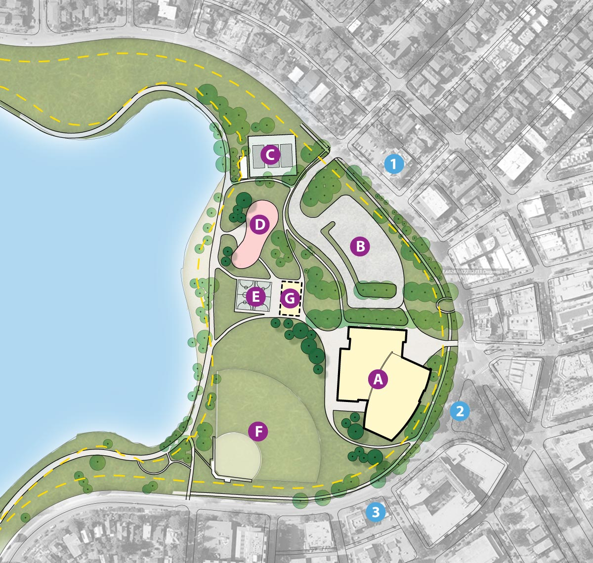 A map showing the Neighborhood Connection site at the northwest side of Green Lake Park.