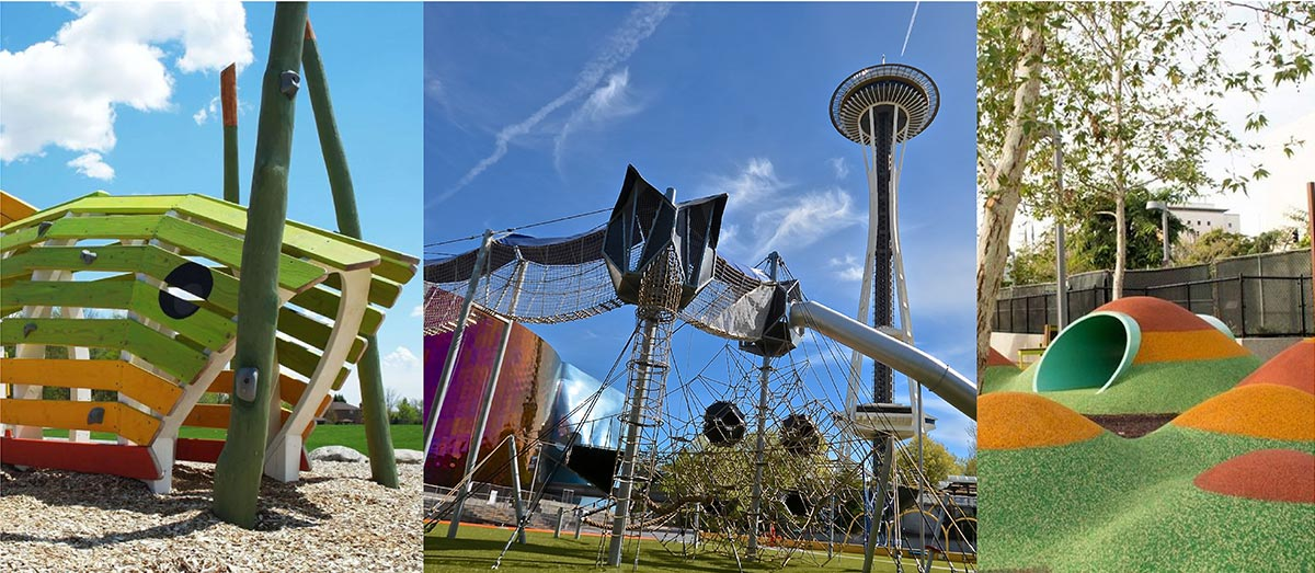Photo montage showing examples of modern playgrounds.