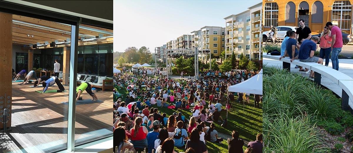 Photo montage showing community gatherings.