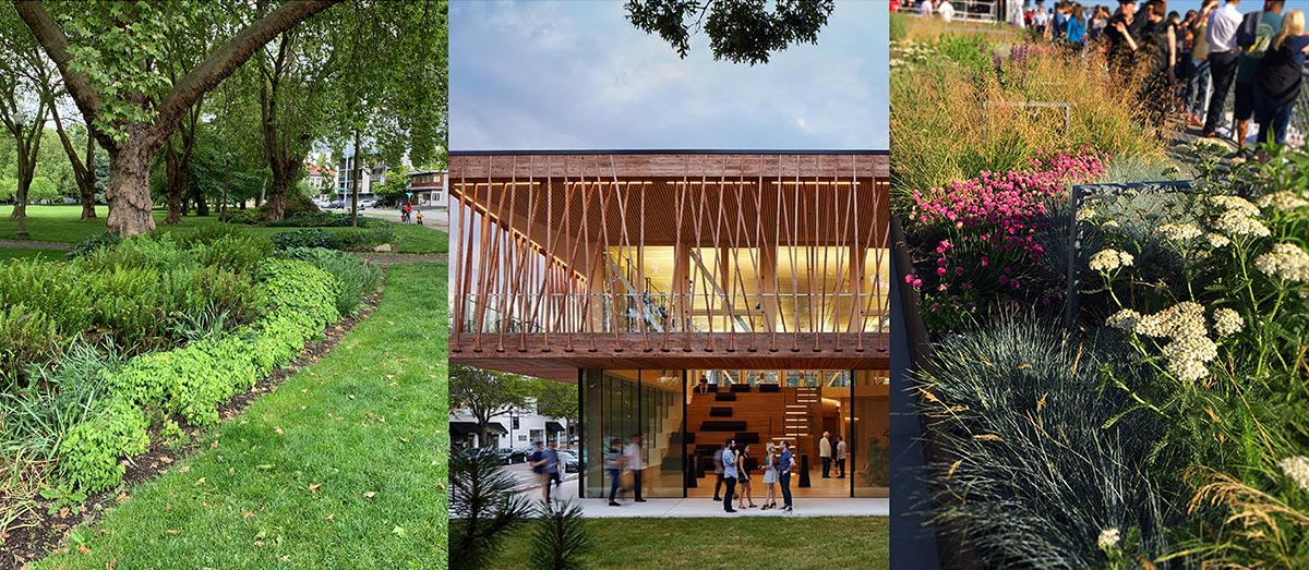 Photo montage showing examples of park landscaping.