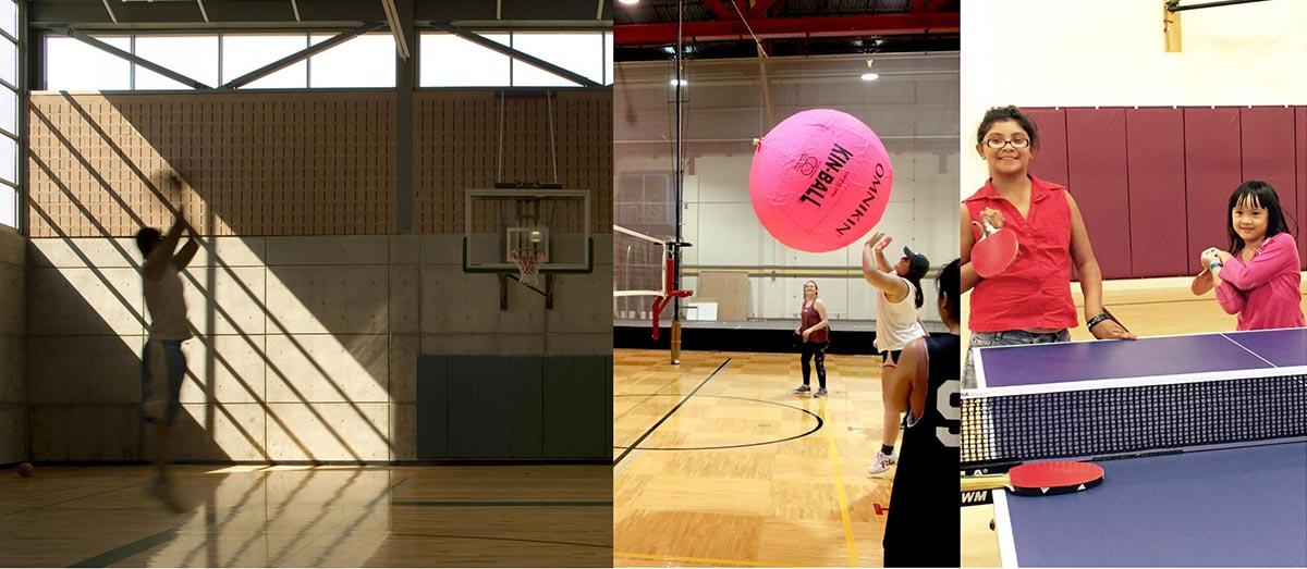 Photo montage showing group activities in indoor court.