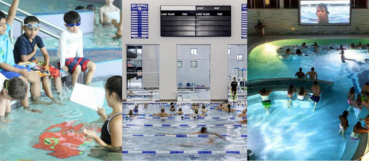 Photo montage showing examples of pool activities.