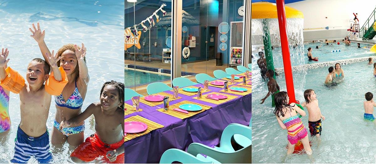 Photo montage showing children's birthday parties.
